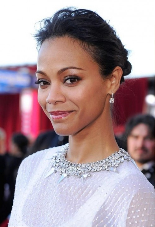 Shortcut For Thin Hair Zoe Saldana Loose Bun Updo For Thin Hair